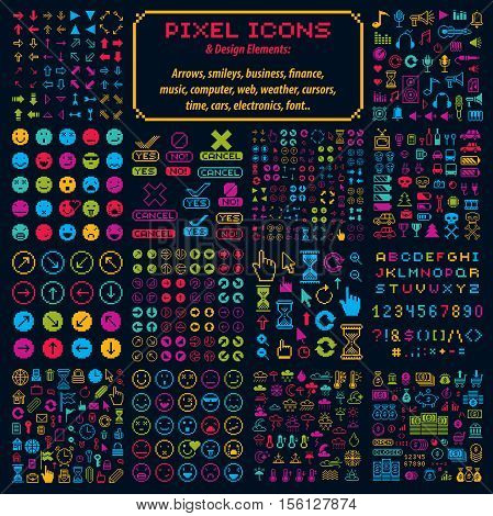 Vector flat 8 bit icons collection of simple geometric pixel symbols. Digital web signs created in different social concepts like business and investment weather conditions and music.