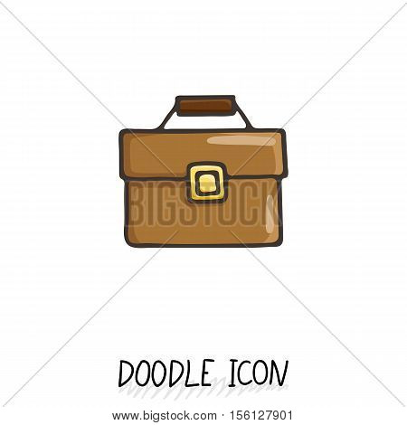 Business suitcase icon in a hand drawn doodle style.