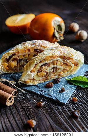 Sweet Strudel With Persimmons, Raisins And Walnuts
