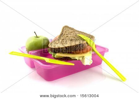 healthy lunchbox with bread and fruit