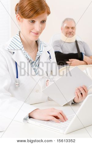 Doctor Office - Female Physician Book Computer
