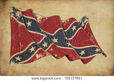 Confederate Rebel Grunge Flag Textured Background Wallpaper