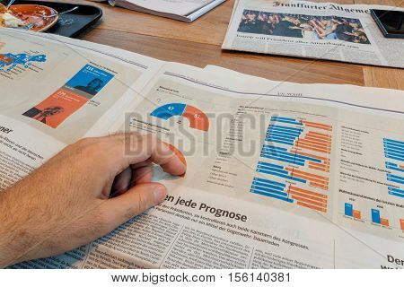 PARIS FRANCE - NOV 10 2016: Demograpphy infographics of elections - man reading Frankfurter Allgemeine Zeitung newspapper with Donald Trump elected as President as the 45th President of United States of America