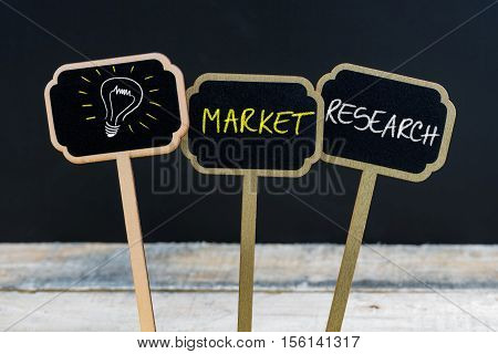 Concept Message Market Research And Light Bulb As Symbol For Idea