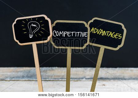 Concept Message Competitive Advantages And Light Bulb As Symbol For Idea