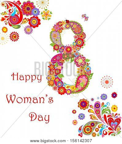 Greeting card with flowers number 8 for International Women's day