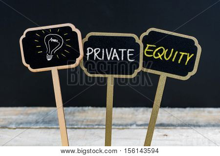 Concept Message Private Equity And Light Bulb As Symbol For Idea