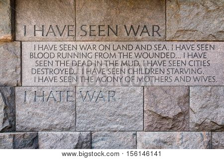 WASHINGTON D.C.,USA - AUGUST 14,2016 : Wall with speech against war at the the Franklin Delano Roosevelt Memorial in Washington D.C.