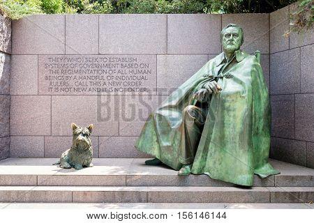 WASHINGTON D.C.,USA - AUGUST 14,2016 : Detail of the Franklin Delano Roosevelt Memorial in Washington D.C.