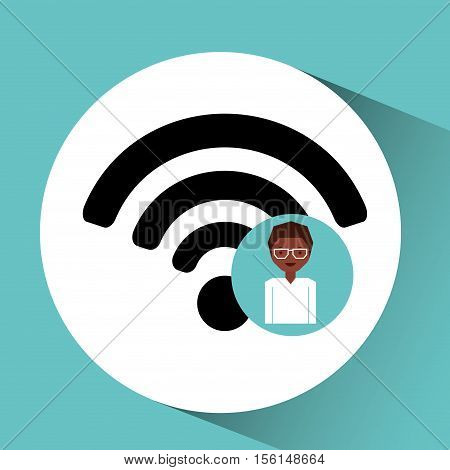 woman afro internet connection icon vector illustration eps 10