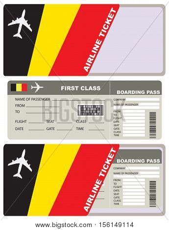 Tickets for air travel. Set ticket with envelope Belgian flag.