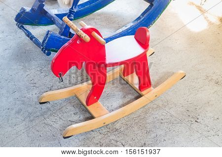 Children toy wooden rocking horse stock photo