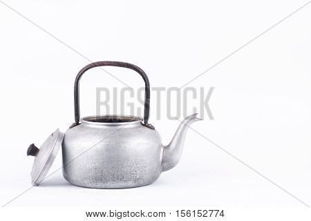 old vintage retro Kettle on white background drink isolated ( water boiler ). Which, kettle made of aluminum materials.