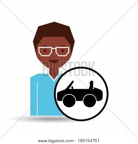 girl afro car sport icon vector illustration eps 10