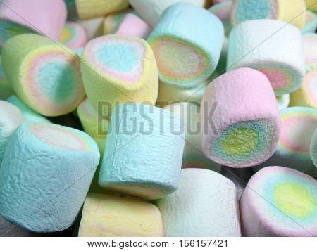 Heap of Pastel Blue, Pink, Yellow Puffy Marshmallows
