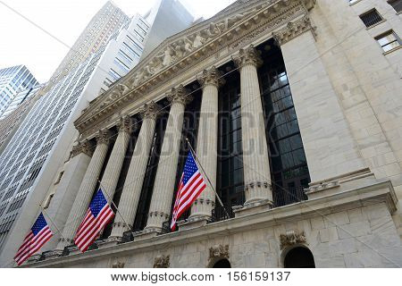 NEW YORK CITY - MAY 26, 2014: New York Stock Exchange facade at Wall Street in Lower Manhattan, New York City, USA.