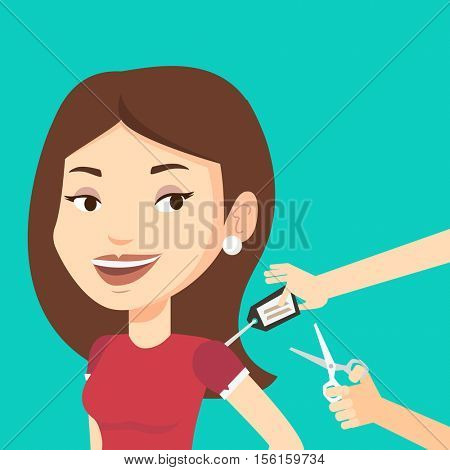 Cheerful woman removing price tag off new t-shirt. Young caucasian woman cutting label off new clothes with scissors. Woman shopping at clothes store. Vector flat design illustration. Square layout.