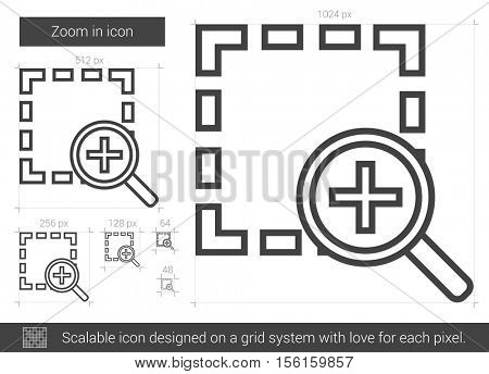 Zoom in vector line icon isolated on white background. Zoom in line icon for infographic, website or app. Scalable icon designed on a grid system.