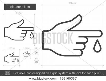 Blood test vector line icon isolated on white background. Blood test line icon for infographic, website or app. Scalable icon designed on a grid system.