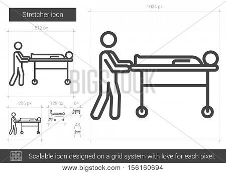 Stretcher vector line icon isolated on white background. Stretcher line icon for infographic, website or app. Scalable icon designed on a grid system.