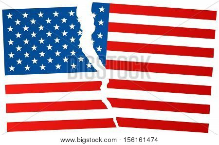 Broken Flag Of United States Of America