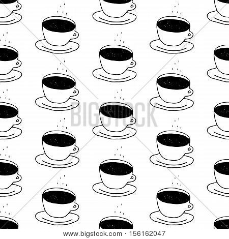 Coffee cup pattern with hand drawn coffee cups. Cute vector black and white coffee cup pattern. Seamless monochrome coffee cup pattern for fabric, wallpapers, wrapping paper, cards and web background.