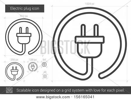 Electric plug vector line icon isolated on white background. Electric plug line icon for infographic, website or app. Scalable icon designed on a grid system.