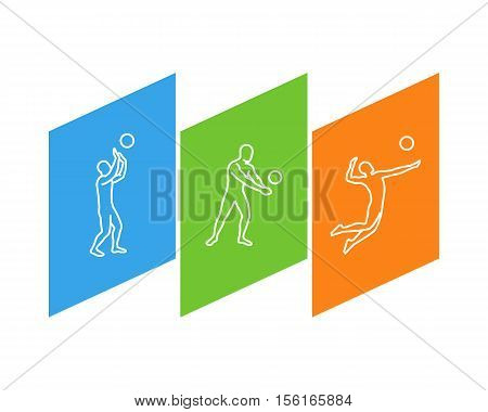 Line vector logo for volleyball. Outline figure volleyball player.