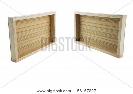 Empty wooden box isolated on white(have clipping path),empty wooden crate set isolated on white