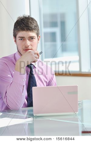 Business Man Alone In Conference Room