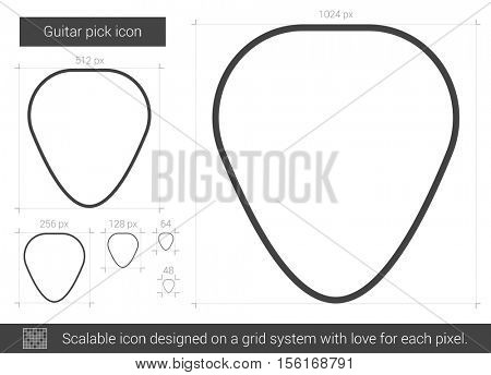 Guitar pick vector line icon isolated on white background. Guitar pick line icon for infographic, website or app. Scalable icon designed on a grid system.