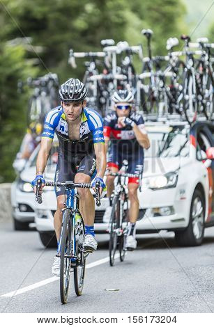Col du Tourmalet France - July 242014: The German cyclist Paul Voss of NetApp-Endura Team climbing the difficult road to Col du Tourmalet in Pyrenees Mountains during the stage 18 of Le Tour de France 2014.
