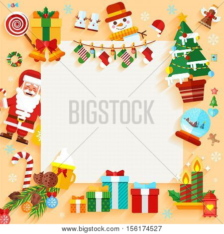Stock vector illustration Christmas banner design greeting card with decorative elements in a flat style for the New Year 2017