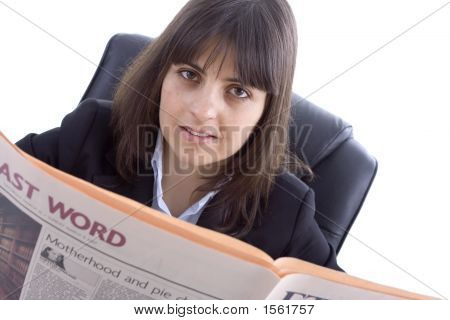 Business Woman Reading Daily Newspaper