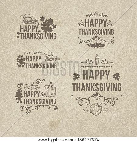 Happy Thanksgiving Day Design Badges Collection - Set of five retro vintage style Thanksgiving badges cards on dark grange background with decor elements, turkey, pumpkin, fruit, swirls