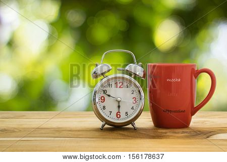 Good Morning Coffee And Alarm Clock Concept.