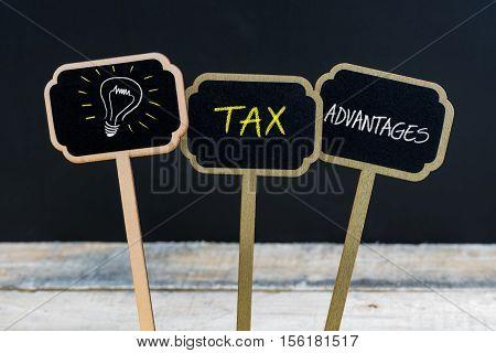 Concept Message Tax Advantages And Light Bulb As Symbol For Idea