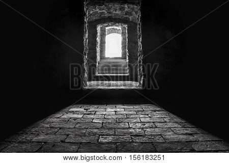 Basement entrance and stairs - Black and white image of the stairs and the entrance from a basement seen from inside