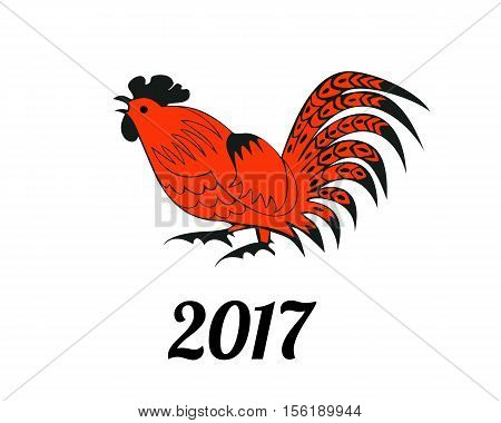 Rooster in red and black colors. Symbol 2017. Christmas vector in a folk style. Suitable for greeting cards, invitations, design elements for Christmassy decoration. Horizontal location.
