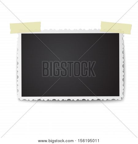 Realistic vector photo frame with retro figured edges and soft shadow on two pieces of sticky adhesive tape. Isolated on white background. Template photo design.