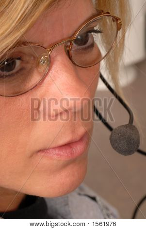 Close Up Of A Police Dispatcher'S Face