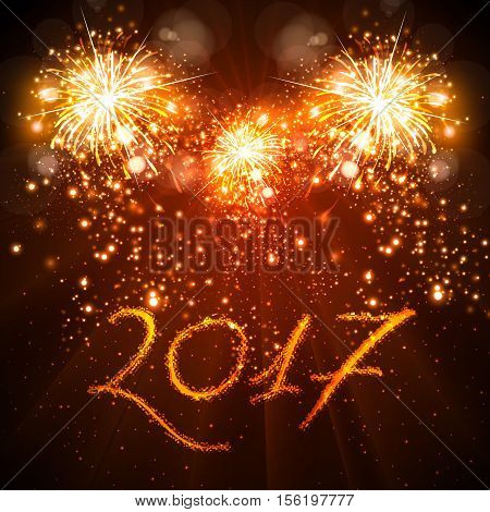 Happy New Year 2017 celebration fireworks background