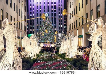 NEW YORK-DECEMBER 3: The world famous Rockefeller Christmas tree and holiday decorations on December 3 2015 in New York City.