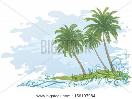 Exotic Landscape, Green Tropical Palms Trees and Floral Pattern on Blue and White Background. Eps10, Contains Transparencies. Vector