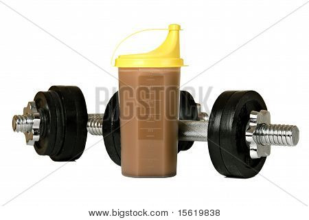 Protein shake in plastic shaker, with weights