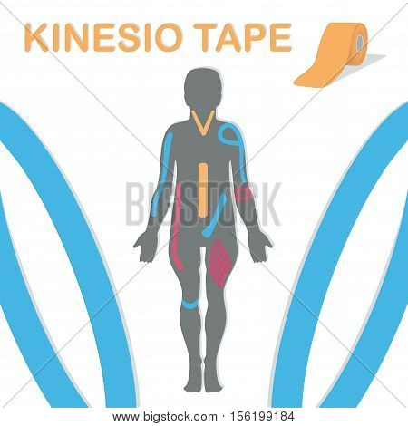 Therapy with kinesio tape. Body and an example blend. Vector illustration.