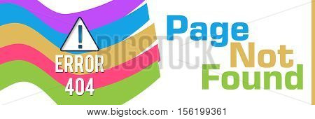 Page not found text written over colorful background with conceptual symbol.
