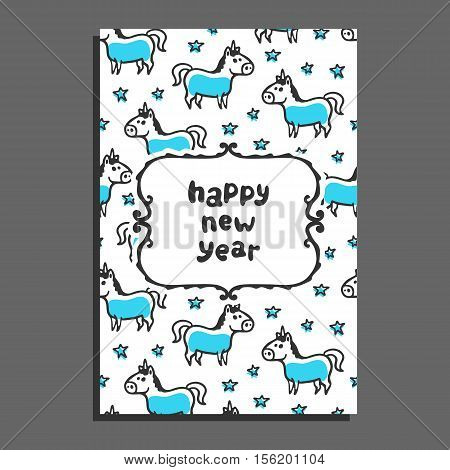 Happy new year greeting card with unicorn and stars. Cute cartoon vector childish pattern on white background