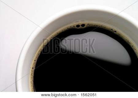 Coffee Cup On White Background (Seen From Above) Closeup