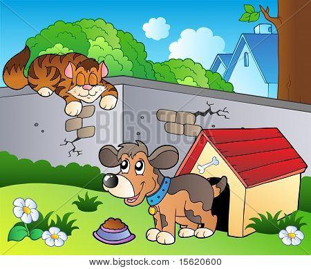 与卡通猫和狗的后院